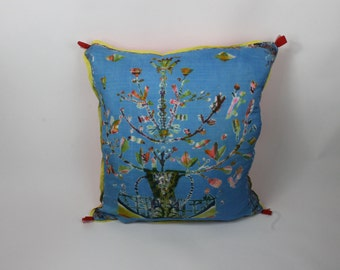 NEW Folk floral square silk pillow