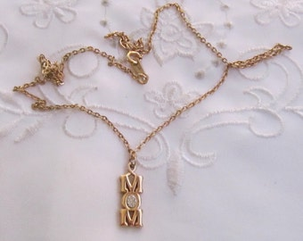 """Vintage Avon Choker Style Chain Necklace with """"MOM"""" Pendant with Clear Rhinestone"""