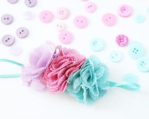 Clear Mountain Morning- aqua pink and lavender burlap triple flower headband