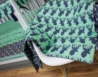 Deer Crib Bedding, Mint and Navy Bumperless Crib Bedding, Rail Guards, Mint, Navy, Woodland, Tribal, Deer, Arrows, antlers, Boy Nursery