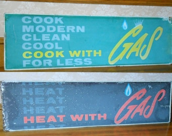 """Vintage ADVERTISING Sign Double Sided Metal Sign COOK with GAS Natural Gas Sign Heat Gas Mid Century Sign 1960's Metal Sign Large 44"""" x 14"""""""