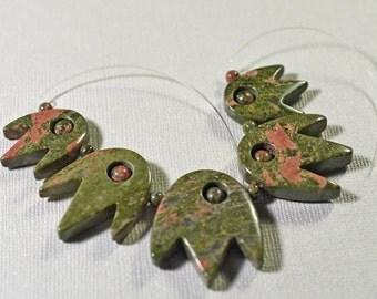 Unakite beads/pendant- #1295