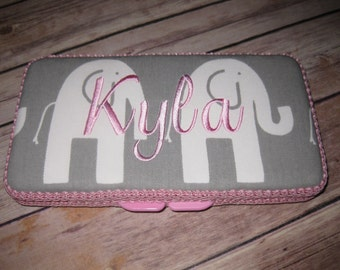 Travel Baby Wipe Case - Pink Grey White Elephants- Personalization Available