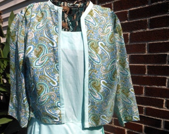 Vintage Sundress Jacket Dress Aqua Paisley Fabric Size S M at Quilted Nest