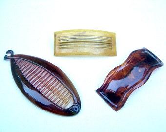 Three vintage hair barrette celluloid faux tortoiseshell hair accessory hair slide hair clip hair pin hair pick