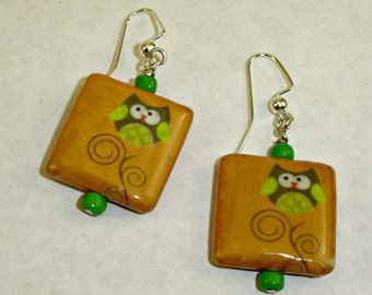 Owl on a Curly Twig Earrings