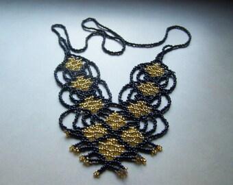 Hand Beaded Black Gold Peyote Stitch Bib Necklace