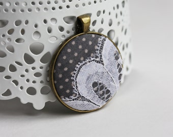 Polka Dot Fabric Pendant, Polka Dot Wedding Lace Jewelry, Womens Gray Necklace, Dot Bridesmaid Gift, Gray and White, Mod Jewelry, Unique