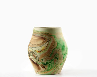 Nemadji Pottery Vase, Vintage Clay Vase, Green and Brown, Southwestern Style