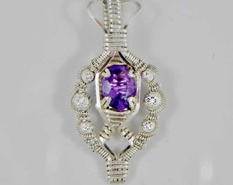 Faceted Amethyst and Pyramid Cut Silver Beaded Argentium Sterling Silver Wire Wrap Pendant