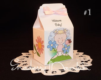 Spring Baby Girl - Baby Shower Favor Box Kits - Set of 12