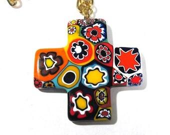 Murano Millefiori Greek Cross Necklace VINTAGE Millefiori Venetian Glass Mosaic Necklace Cross Religious Jewelry Vintage 70s Jewelry (T196)