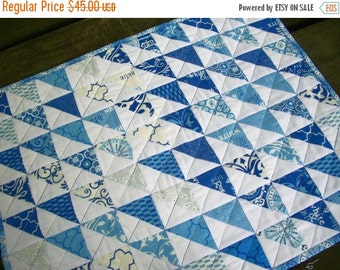 CIJ SALE Blue Table Topper Spa Blue White Quilted Triangles Quiltsy Handmade FREE U.S. Shipping