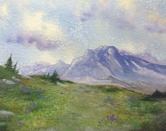 Original Painting Mount Hood Painting Oregon Art Original Watercolor of Oregon Landscape 8x10 painting Landscape Original Watercolor