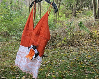 Halloween clothing, orange upcycled camisole, halloween top, gypsy hippie clothes, lace cami, boho chic, S- M small - medium, Lily Whitepad