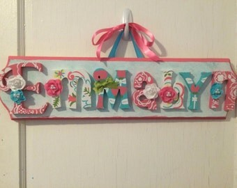 Custom Kids Name Sign - Nursery Wall Letters Name Sign - Custom Children's Shabby Chic Name Plaque 7 Letters