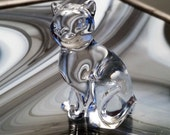 Vintage Lead Crystal Collectible Cat Figurine Paperweight