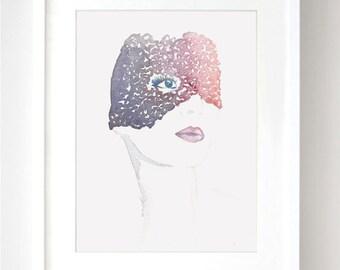 Lace Face Original Watercolor