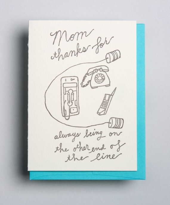 Letterpress card, For Mom