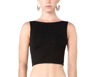 Black Crop Top -  Organic Yoga Top - Black Yoga Top - Yoga Clothing - Crop Top - Black Cropped Tank