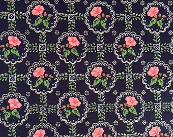 Vintage Wallpaper - Pink Petunias on Blue 1940's - 1 Yard