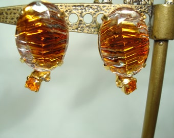1970s Citrine  Colored Earrings.