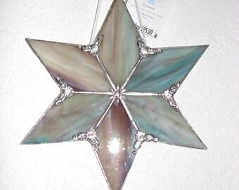 Aqua/Purple Streaky Glass 6 point star