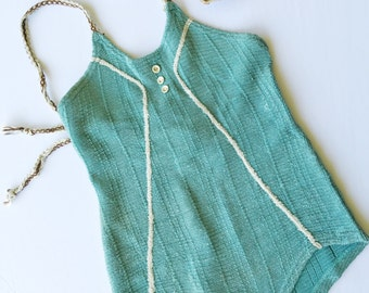 Vintage Swimsuit: 1930s Swimway Flapper Baby Aqua Blue