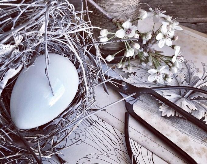 Milk Glass Egg Hand Blown Antique Victorian Easter Nesting Darning