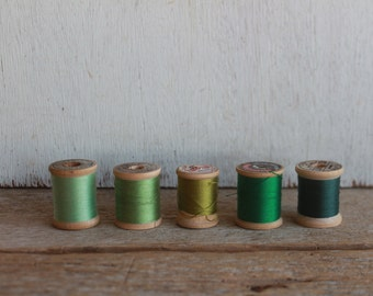 Vintage Thread Spools // Greens