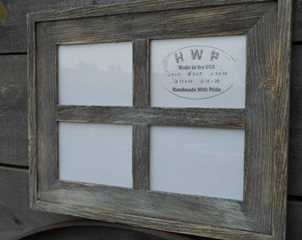 Rustic Barn Board Window Frame Handmade Handcrafted Barn Wood Collage Picture Frame Wedding School Family Frames