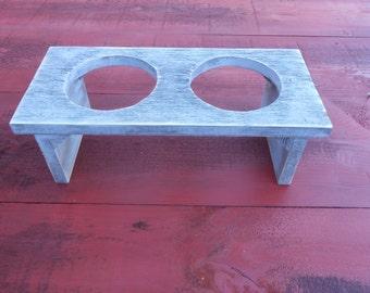 Rustic Barn Wood Barn Board Dog Cat Dish Holder