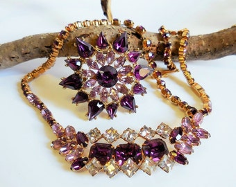 Vintage necklace & brooch set Purple, Pale Pink, Clear crystal rhinestones, prong set gold