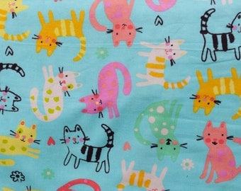 Flannel pants pajama dorm lounge made to order your choice size XS - 2X Colorful cartoon cat print