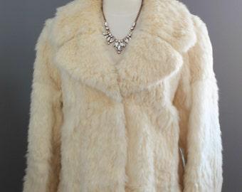 SALE Cream Angora Rabbit Fur Coat - Size Large