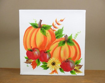 """Pumpkin Canvas Painting with Sunflower and Apples Acrylic Original 6"""" x 6"""" x 1 1/2"""" Unframed"""