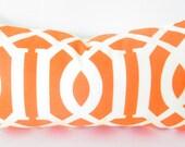 Orange Lumbar Pillow Cover, Bohemian Decor, Orange and White Throw Pillow Covers, bohemian pillow, bolster pillow cover, Lumbar pillows