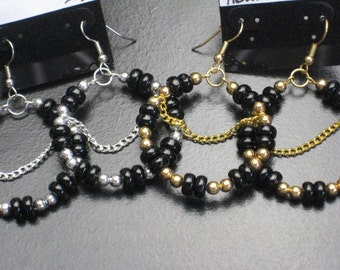 Silver or Gold Beaded Hoop Earrings