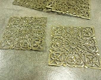 8pc. Filigree Square Pendant 40mm Antiqued Bronze Stamping