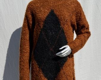 Vintage 80's JONES New York SPORT knitted mohair blend sweater dress turtleneck argyle geometric large by thekaliman
