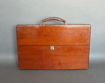 Antique Mahogany Sheet Music Case from England - Wooden sheet music Briefcase