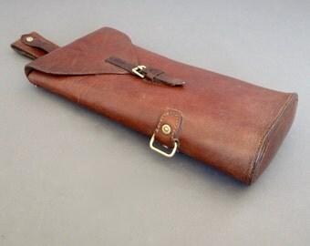 WWII Era English Leather Gun Case from England - Antique Shot Gun Case - Military Gun Barrel Case