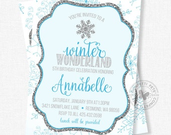 Snowflake Birthday Invitation, Winter Birthday Invitation, First Birthday, Winter Wonderland Invitation, Blue and Silver Glitter