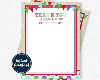 Camping Thank You Cards, Birthday Thank You Cards, Glam Camp Thank You, Girl Thank You Notes, Printable INSTANT DOWNLOAD