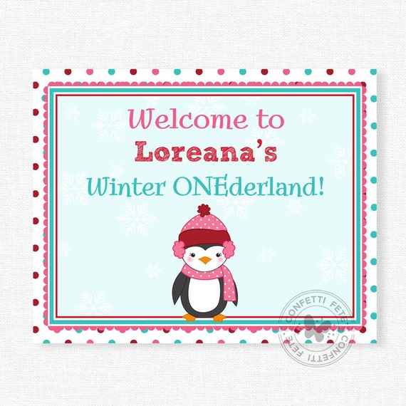 Penguin Birthday Sign, Winter ONEderland Sign, Penguin Welcome Sign, Winter Party Decoration, Printable 8x10 Sign