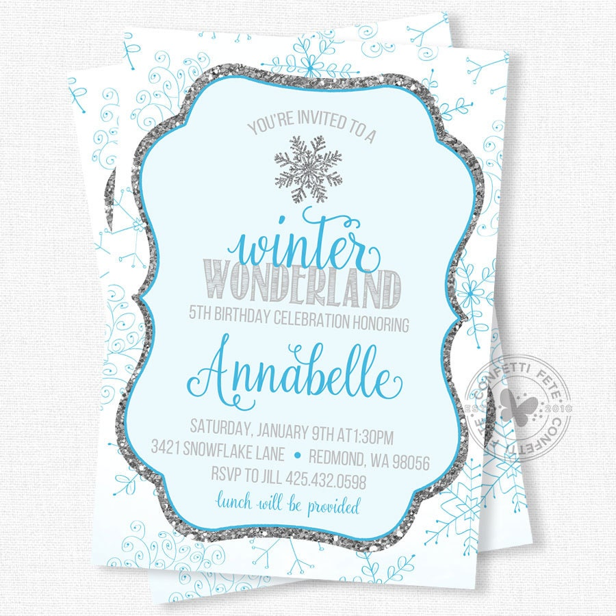 snowflake birthday invites
