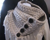 Hand crochet womens infinity scarf-Linen color