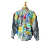 BLOWOUT 40% off sale Vintage 80s EUROPA Map of Europe Paint and Bead Denim Jean Jacket - Ladies SML - Simonia