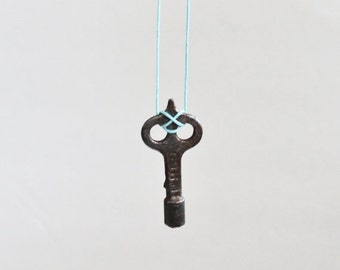 CIJ 40% off sale // Vintage UH Co Barrel Skeleton Key Upcycled Necklace on Waxed Aqua Blue Cord