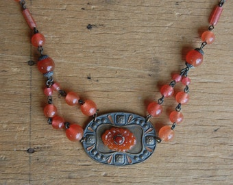 Vintage Czech grapefruit glass bead necklace with hammered panel